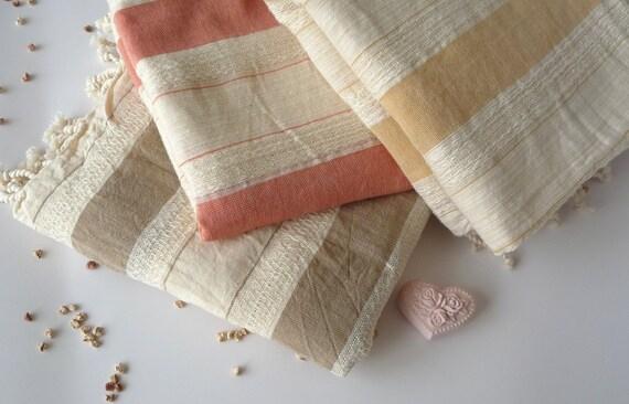 BATH Turkish Towel, Natural Peshtemal, Ultra thin, Beach towel, pure hammam, pareo, sarong, Spa, 100% natural cotton, Bisque