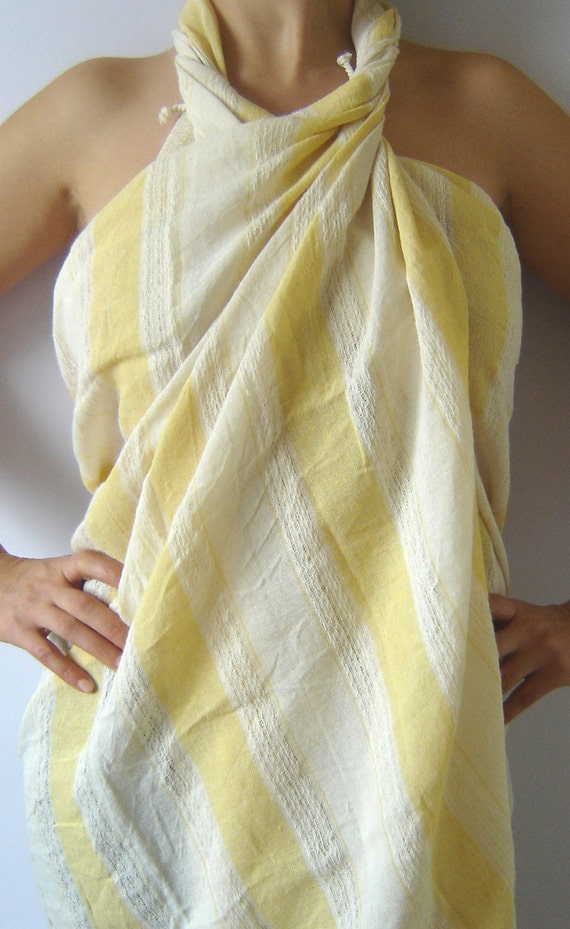 Turkish Bath and Beach Towel, Stylish Peshtemal, Bath, Beach, Spa, Yoga Towel, 100% Cotton, Yellow