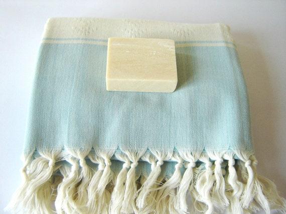 Elegant Turkish Towel, Kilim Peshtemal, Natural Soft Cotton Bath, Spa,  Beach Towel, Light Blue