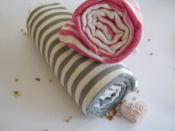 Traditional Turkish Towel: Peshtemal, Light and Thin Bath, Beach, Spa Towel, Gray Striped