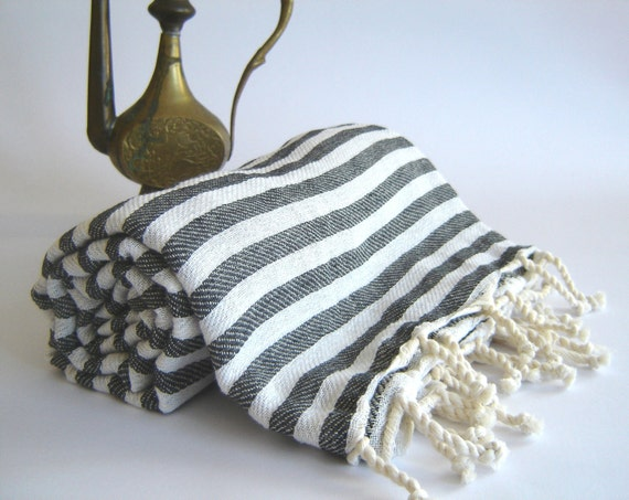 Turkish Bath Towel: Handwoven Peshtemal, Bath, Beach, Spa Towel, Black Striped