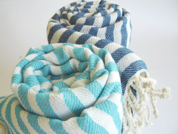 SALE Set of 2 Turkish Bath Towel: Handwoven Peshtemal, Bath, Beach, Spa Towel, Aqua and Blue