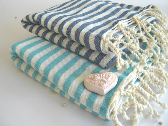 SALE Set of 2 Turkish Bath Towel: Handwoven Peshtemal, Bath, Beach, Spa Towel, Aqua and Blue