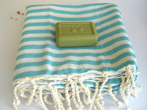 mother's day gift, Best Quality Turkish Towel, Peshtemal, Beach towel, bath towel, hammam towel, yoga, Spa, Sarong, Pareo, Aqua Striped