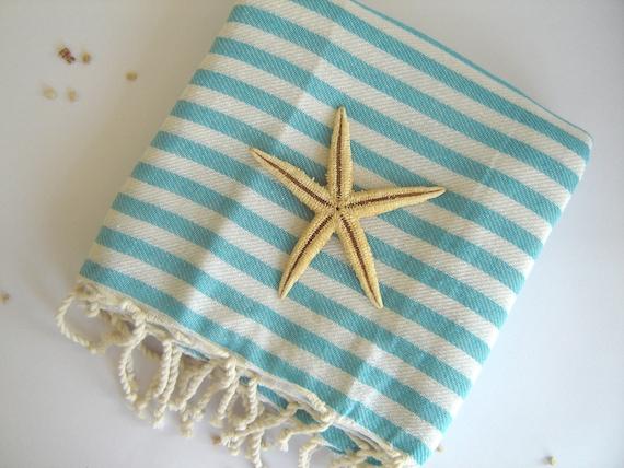 Turkish Towel, Peshtemal, Hammam towel, Bath, Beach, Spa, Sarong, Paroe, Aqua Striped