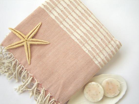 Bath and Beach Towel: Handwoven Turkish Peshtemal, Bath, Beach, Spa, Yoga Towel, Coral