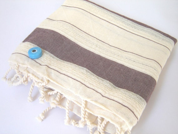 Turkish BATH Towel, Soft Cotton, Extra Soft and Absorbant Peshtemal, 100% Cotton, Brown