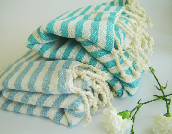 Elegant Turkish Towel: Peshtemal, Beach towel, Bath towel, Spa, Yoga, natural cotton, Aqua