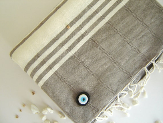 Handwoven Turkish Towel, Peshtemal, Natural Soft Cotton, for Bath and Beach, Gray