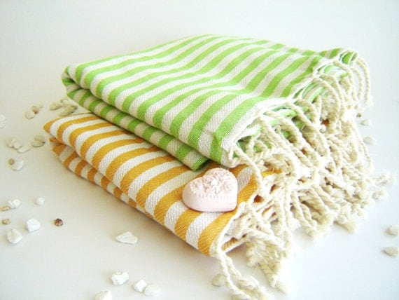 SALE Set of 2 Turkish Bath Towel: Handwoven Peshtemal, Bath, Beach, Spa Towel, Yellow and Green