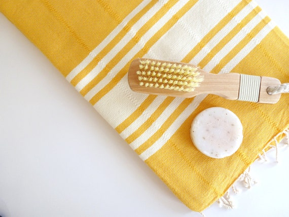 Elegant Turkish Towel, Natural Soft Cotton Bath and Beach Towel, Peshtemal, Dark Yellow
