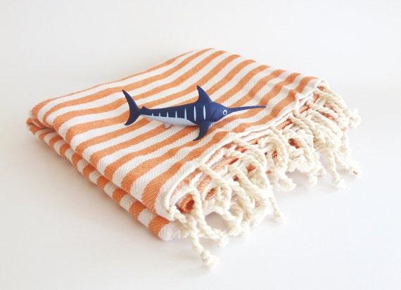 Turkish Towel, Peshtemal, Hammam towel, Bath, Beach towel, Spa, yoga, Coral Color