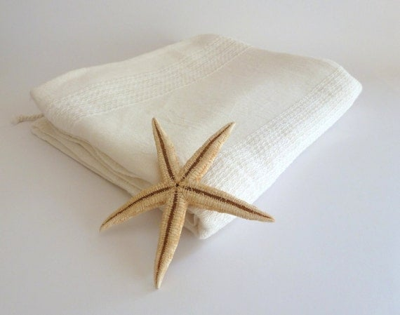 Organic Silk Turkish Towel, Peshtemal, beach towel, bath towel, hammam towel, Pareo, Sarong, Organic Silk and Cotton, White