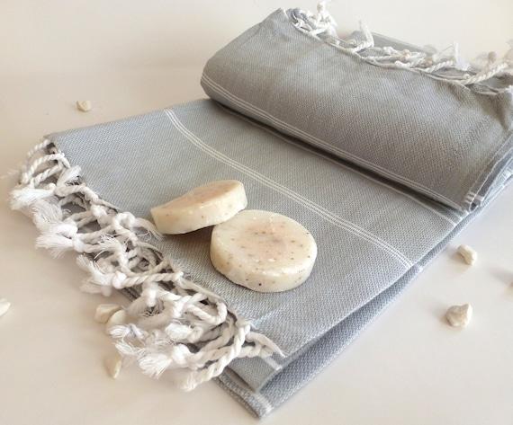 Bath Set of Turkish towel Peshtemal and Peshkir, Pure Natural Turkish Cotton, spa, yoga, Gray / Grey with white stripes