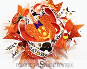 Pumpkin Minnie Mouse Halloween Over the Top  Boutique Hair Bow for Baby,Toddler, Girls