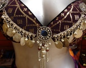Black velvet and antique purple assuit with coins and mirrors Tribal fusion belly dance bra