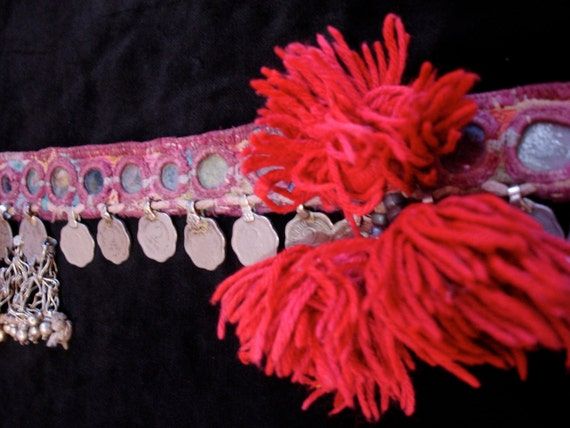Banjara Indian embroidery belt tie for use in Tribal fusion belly dance