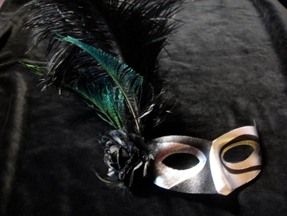 Harlequin flower and peacock feather masquerade carnival mardi gras fancy dress mask