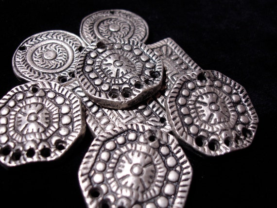 Eight tarnished solid heavy silver beads with holes  for Tribal fusion belly dance