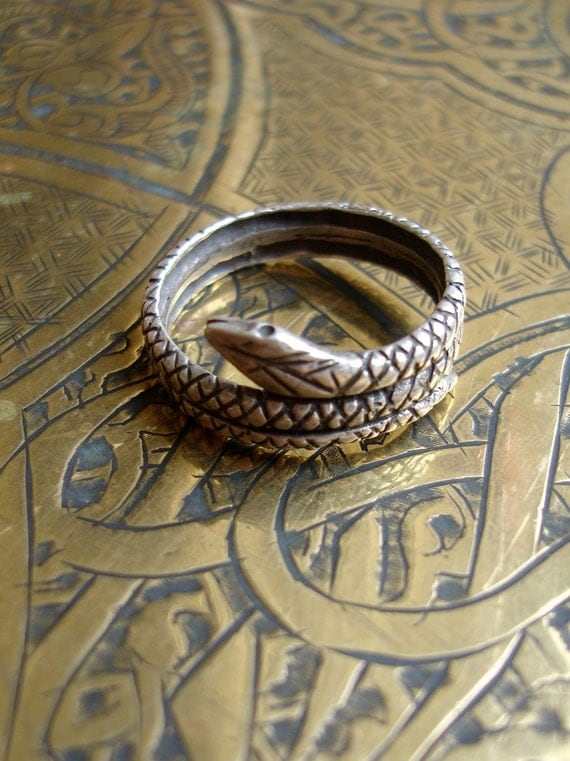 Moroccan silver snake cobra serpent ring