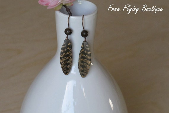 Paper Feather Earrings - Black and Beige Striped Feather with Bronzite Bead - Cruelty-free - Eco-friendly - Chuck-wills's Widow Feather
