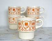 Retro Stacking Coffee Mugs - Set of 5