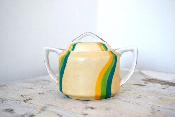 Vintage Sugar Bowl - Hand Painted Japan Okwan China