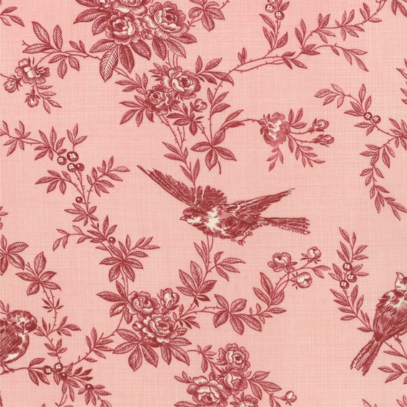 Fabric Pom Pom De Paris by French General for Moda Fabrics in Salmon Rouge 13572 15 - quilting fabric - cotton fabric