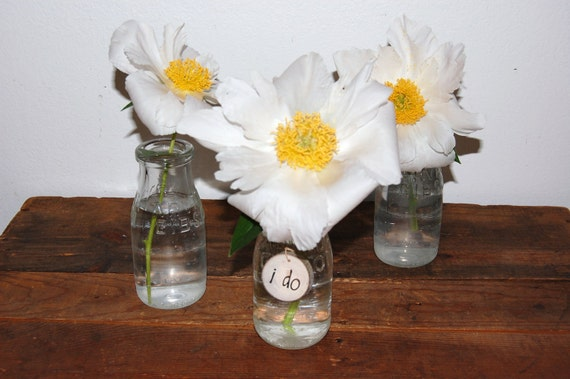 Wedding centerpiece glass vases wood charms vintage milk