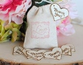 Wedding Favor -Thank You-  Rustic Wood Heart Charms (Set of 50)