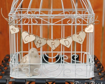 Wedding Card Banner - Personalized Wood Hearts. Ships Quickly.