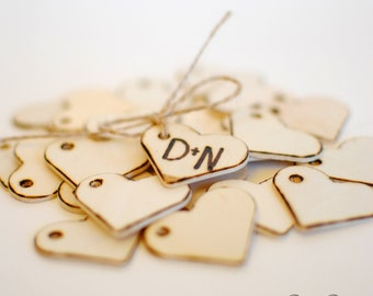 Wedding Favor Personalized Wood Heart  Tags- Drilled  (Set of 100) Ships Quickly