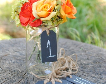 Chalk Board Tags (Set of 12) For Table Numbers,  Candy Bar, Buffet Table, Etc. Ships Quickly.