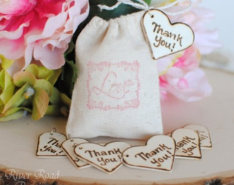 Wedding Favor -Thank You-  Rustic Wood Heart Charms (Set of 25) Ready to Ship