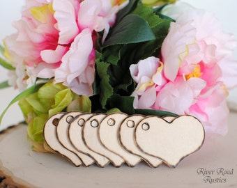Rustic Wood Heart Tags(Set Of 12) for your Wishing Tree, Escort Cards, Place Cards, Favors, Gifts, Etc.