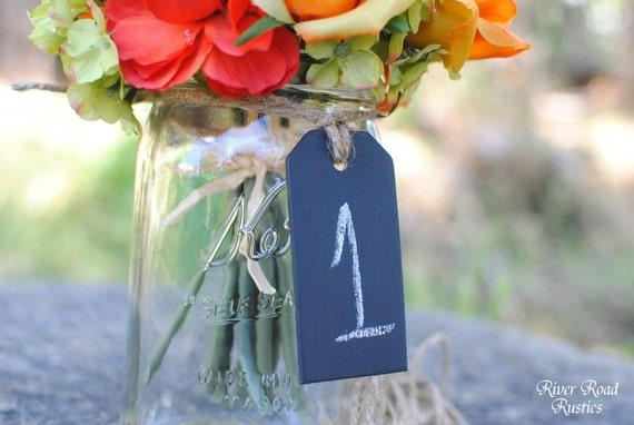 Wood Chalk Board Tags (Set of 5) For Table Numbers,  Candy Bar, Buffet Table, Etc