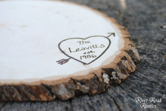 Tree Slice- Large with Personalization- centerpiece, cake stand, cupcake stand, keepsake. Ships Quickly.
