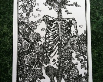 Skeleton with Roses Offset Poster