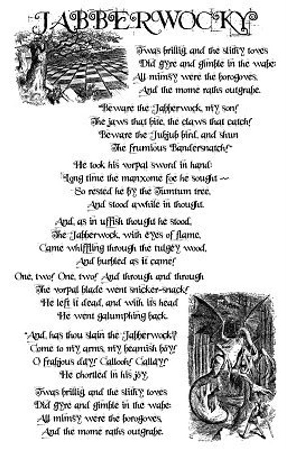 Items similar to Jabberwocky Lewis Carroll Poem Alice in ...