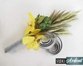 Reserved for Katie Lewis SPIRAL Hops Boutonniere Lapel Pin Pastel Hydrangea Flowers