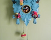 Reclaimed cuckoo clock in pretty sky blue