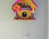 Reclaimed cuckoo clock Yellow and Pink Love
