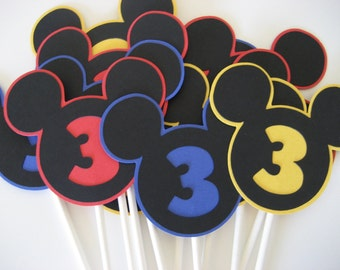 Mouse head with cut out number, letter or both cupcake toppers - 12