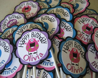 Cute personalized Little Monster cupcake toppers - 12