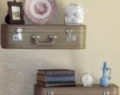Vintage Suitcase Shelves - Set of 2 Beige