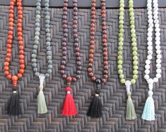 Custom made mala - 108 beads mala in 8mm stone - buddhist prayer necklace