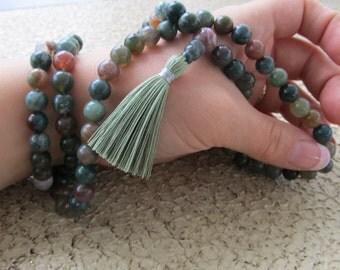 Peace mala - 8mm Fancy jasper 108 beads buddhist mala