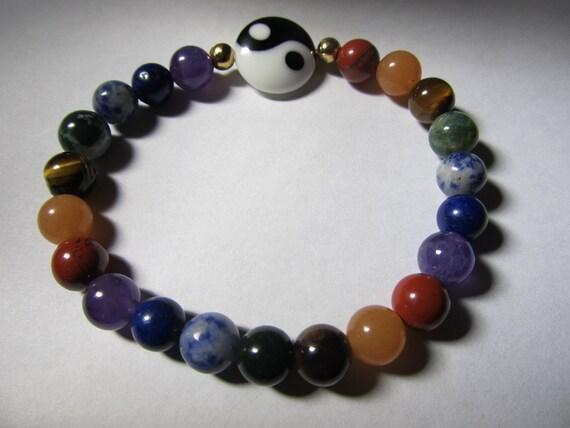 7 chakras 21 beads gemstone strech meditation bracelet