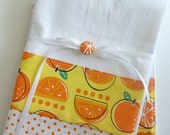 Kitchen towels with orange fruit pattern cotton fabric accent - set of two flour sack towels