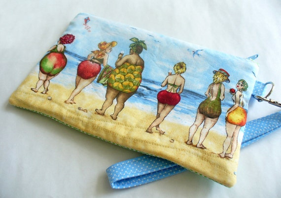 Quilted wristlet with fruit ladies cotton fabric summer fashion and zipper closure